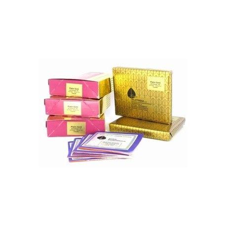 Bladgoud NORIS 8x8cm 25 vel TRANSFER 18 grams Dubbel Torengoud 23,75 krt met Platina